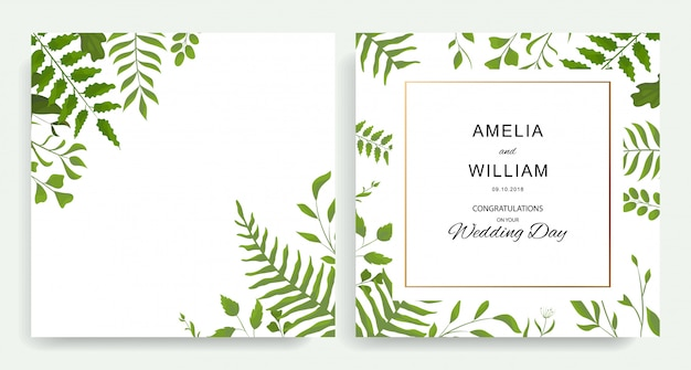 Botanical wedding invitation, invite