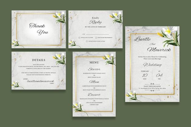 Botanical wedding invitation set
