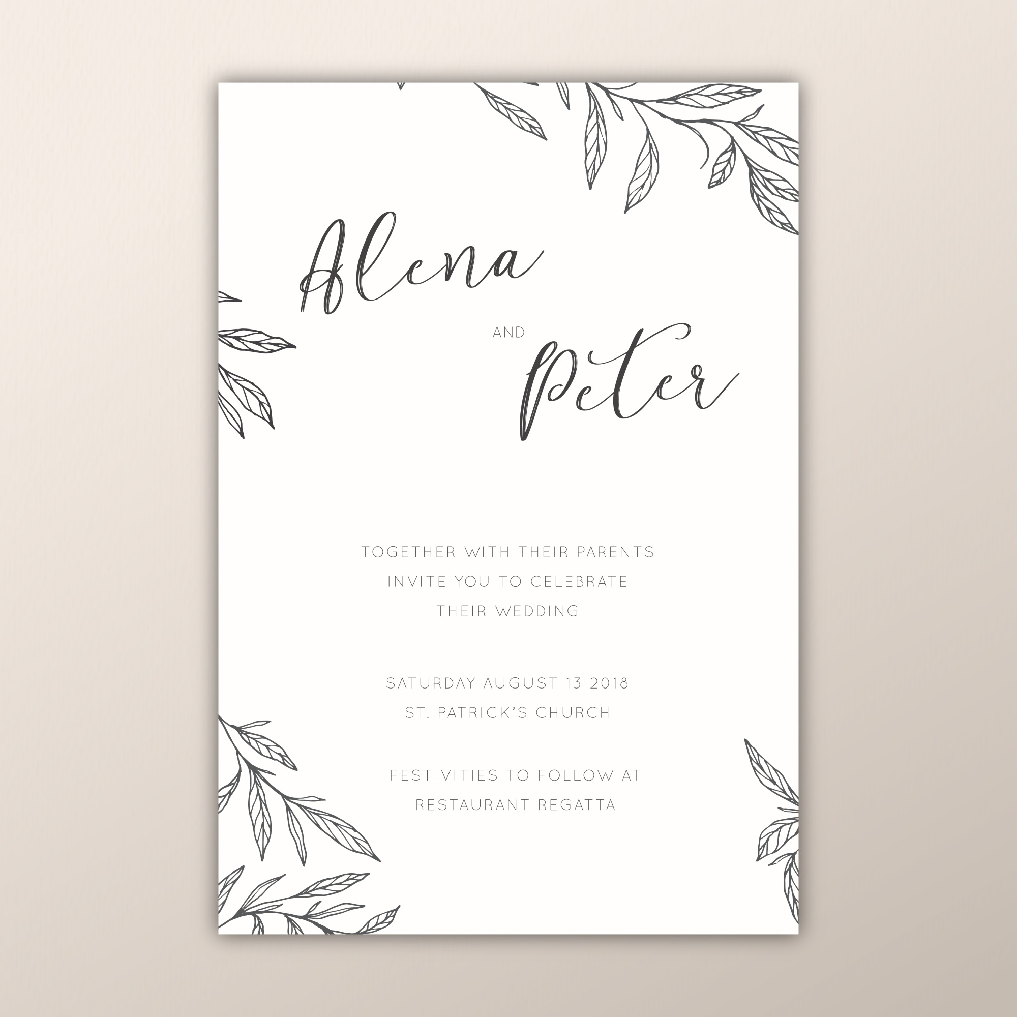 Botanical wedding invitations with hand drawn branches