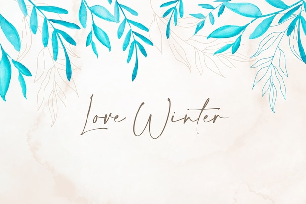 植物の冬の水彩画の背景
