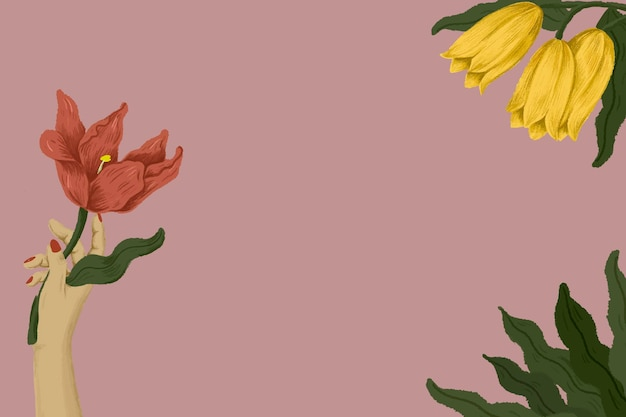 꽃 일러스트를 들고 식물 여성