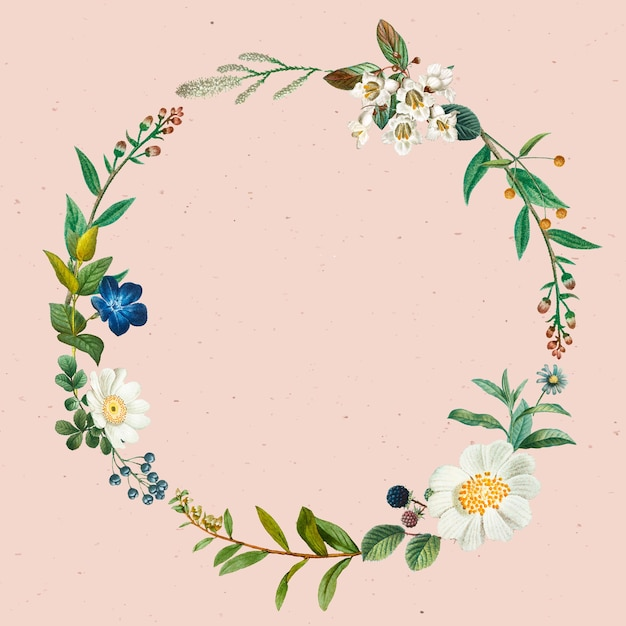 Botanical wreath vector on pink background