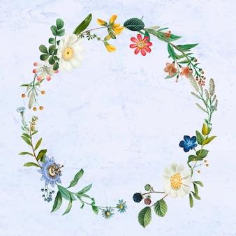 デザインスペースのある植物の花輪 無料ベクター