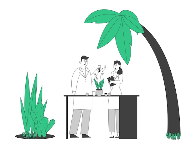 Botanist scientists in greenhouse with gadget and test tube learning exotic rare plants species