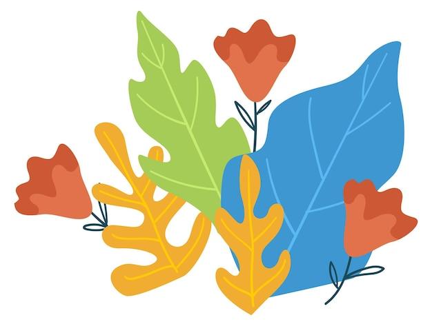 Ботаника и пышная зелень, цветущие листья и элегантные веточки с цветущими цветами. весенние или летние цветы, органический и естественный модный дизайн тропических растений. вектор в плоском стиле иллюстрации