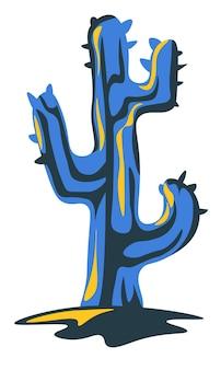 식물학과 사막의 식물, 가시가 있는 고립된 선인장. cinco de mayo의 멕시코 상징, 조경 장식을 위한 관엽식물. 정원에서 이국적인 꽃, 평면 스타일 그림에서 벡터
