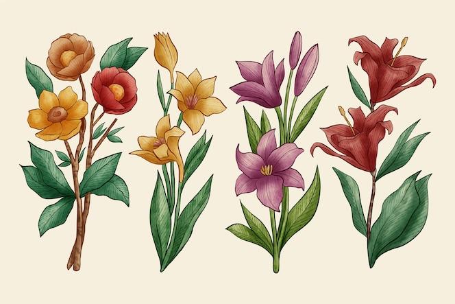 植物学の花パックビンテージデザイン