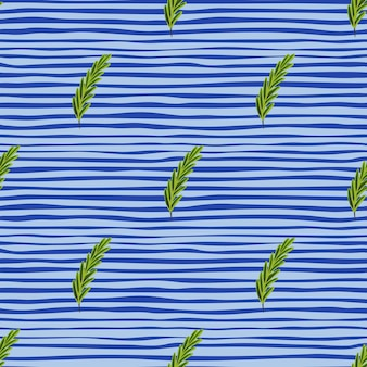Botany seamless doodle pattern with green rosemary twigs. blue striped background. ingredient shapes. perfect for fabric design, textile print, wrapping, cover. vector illustration.