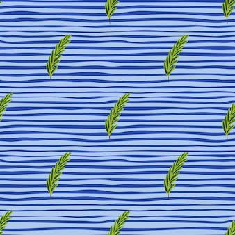緑のローズマリーの小枝と植物学のシームレスな落書きパターン。青い縞模様の背景。材料の形。生地のデザイン、テキスタイルプリント、ラッピング、カバーに最適です。ベクトルイラスト。