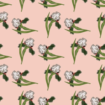 Botany seamless nature pattern with random green iris flowers ornament. pink light background. vector illustration for seasonal textile prints, fabric, banners, backdrops and wallpapers.