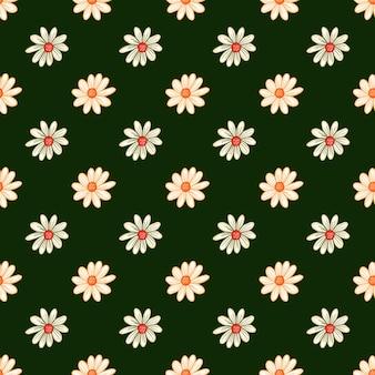Бесшовный узор ботаники с декоративным орнаментом цветы ромашки. темно-зеленый яркий фон. векторный дизайн для текстиля, ткани, подарочной упаковки, обоев.