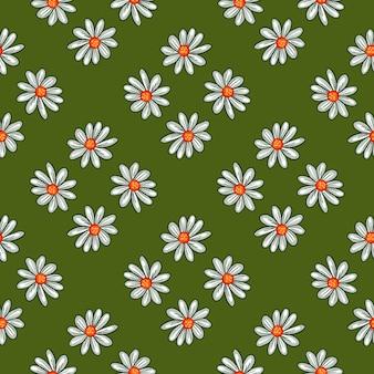 Ботаника бесшовные модели с декоративным голубым орнаментом цветы ромашки. яркий зеленый фон. фондовый рисунок. векторный дизайн для текстиля, ткани, подарочной упаковки, обоев.