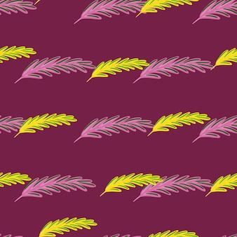 ライラックと黄色のローズマリーのシルエットと植物学のシームレスなパターン。成分プリント。紫の背景。生地のデザイン、テキスタイルプリント、ラッピング、カバーに最適です。ベクトルイラスト。