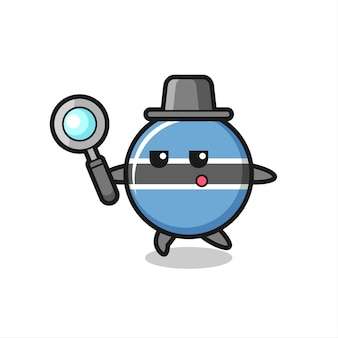 Botswana flag badge cartoon character searching with a magnifying glass , cute style design for t shirt, sticker, logo element