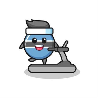 Значок флага ботсваны, мультяшный персонаж, идущий по беговой дорожке, милый стильный дизайн для футболки, стикер, элемент логотипа