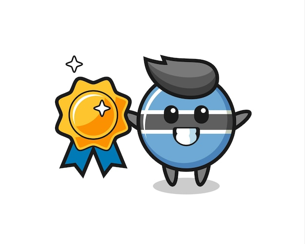 Botswana flag badge mascot illustration holding a golden badge , cute style design for t shirt, sticker, logo element