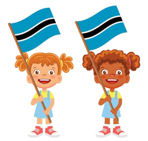 Флаг ботсваны в руке. дети держат флаг. национальный флаг ботсваны вектор