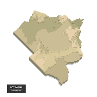 Botswana map -  digital high-altitude topographic map.  illustration. colored relief, rugged terrain. cartography and topology.