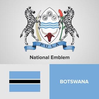 Botswana map flag and national emblem