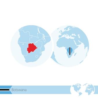 Botswana on world globe with flag and regional map of botswana. vector illustration.