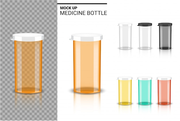 Bottle 3d mock up realistic medicine packaging for capsule and vitamin pill. healthy product on white background.