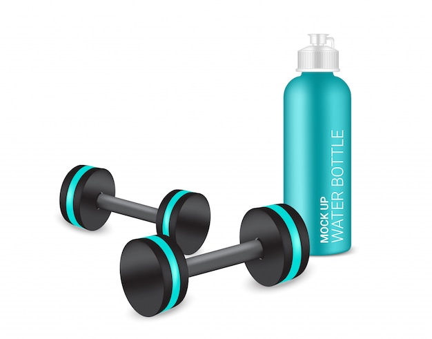 Bottle 3d realistic plastic shaker and dumbbell