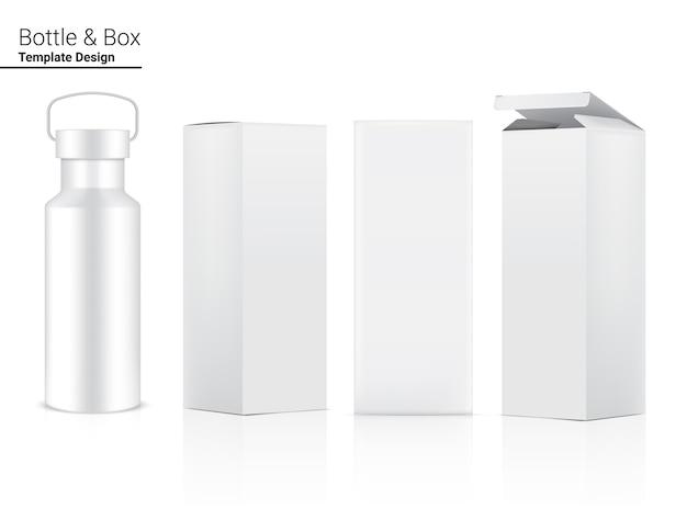Бутылка 3d реалистичный пластиковый шейкер с коробкой для воды и напитков. велосипед и спортивный дизайн концепции.