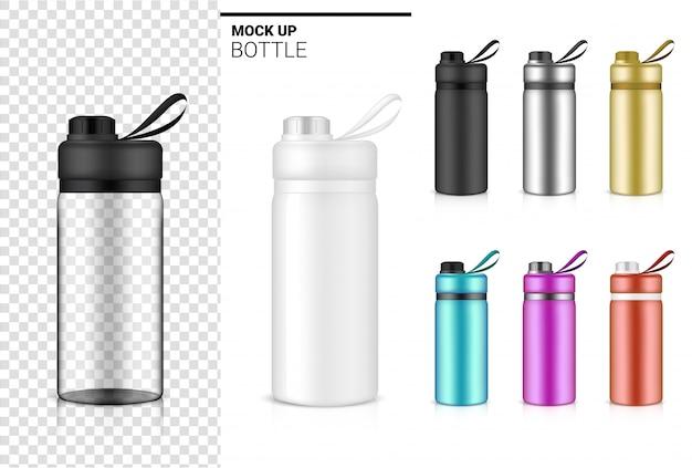 물과 음료에 대 한 병 3d 현실적인 투명 플라스틱 셰이 커. 자전거 및 스포츠 컨셉 디자인.