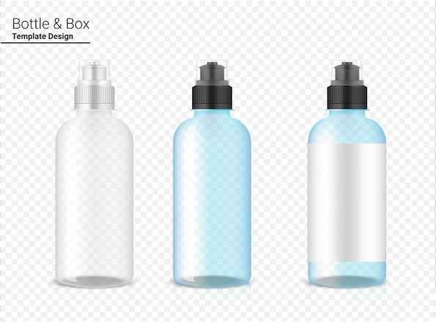 Bottle 3d, realistic transparent plastic shaker vector for water and drink. bicycle and sport concept design.