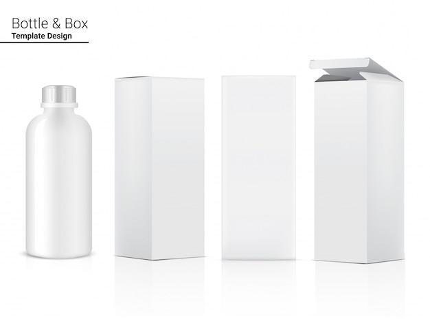 물과 음료에 대 한 상자와 병 3d 현실적인 투명 플라스틱 셰이 커. 자전거 및 스포츠 컨셉 디자인.