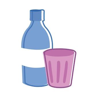 Бутылка и чашка напитка значок