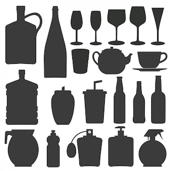 Bottle and glass silhouettes collection