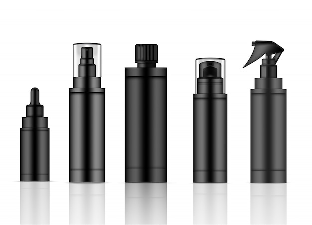 Bottle black realistic skincare product spray
