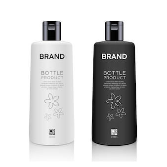 Bottle black and white products mockup design collection isolated on whtie background vector