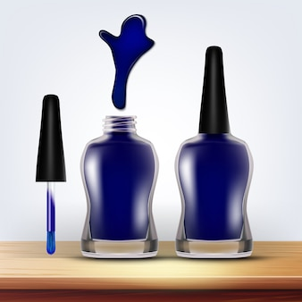 Bottle of blue nail polish female cosmetic