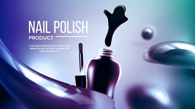 Bottle of blue nail polish product banner