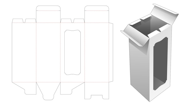 Bottle box with middle open point and window die cut template