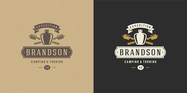 Bottle camping logo emblem illustration set