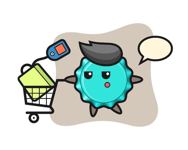 Bottle cap cartoon with a shopping cart
