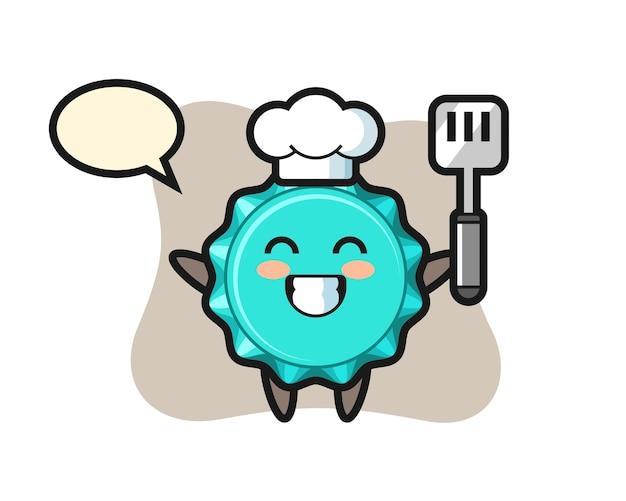 요리사가 요리하는 병 뚜껑 캐릭터
