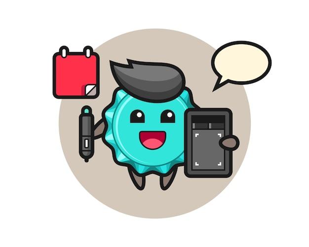 Bottle cap mascot as a graphic designer