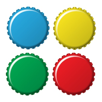 Bottle caps in colors isolated on white background