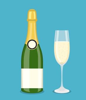 ボトルシャンパンとグラス