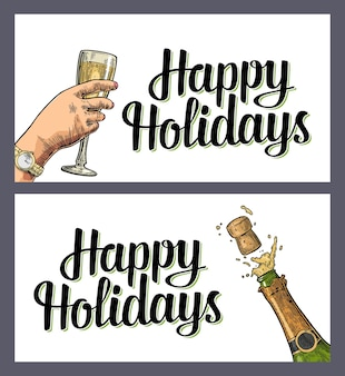 Bottle champagne explosion and female hand hold glass happy holidays lettering vintage engraving