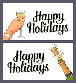 Bottle of champagne explosion with cork and female hand hold glass. happy holidays lettering. vector color flat illustration for merry christmas, new year. isolated on white background
