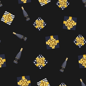 Bottle of champagne and gift box seamless pattern background.