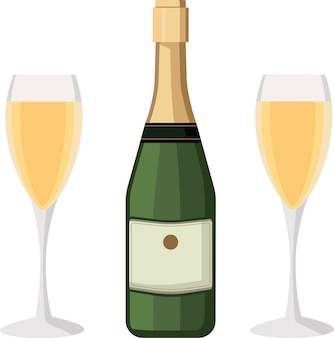 A bottle of champagne and a glass closed and a bottle of champagne and two glassesa festive toast