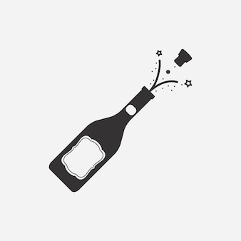 Bottle of champagne with cork vector illustration.