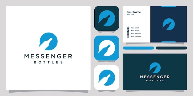 Bottle chat logo icon symbol template logo and business card