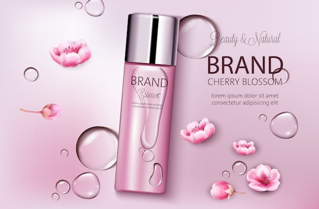Bottle of cosmetics cherry blossom. product placement. natural beauty. place for brand. water drops background. realistic s
